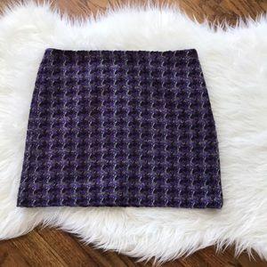 J. Crew Purple Houndstooth Wool Mini Skirt